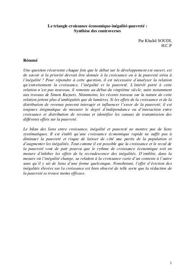 1 Le triangle croissance économique-inégalité-pauvreté : Synthèse des controverses Par Khalid SOUDI, H.C.P Résumé Une ques...