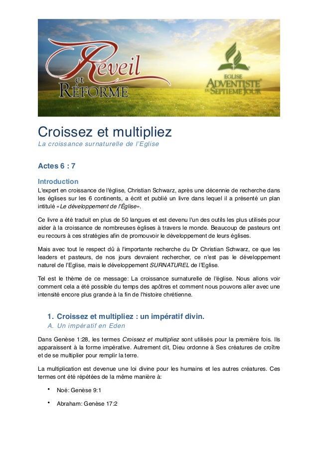 """Croissez et multipliez! La croissance surnaturelle de l'Eglise!  Actes 6: 7"""" Introduction"""" L'expert en croissance de l'ég..."""