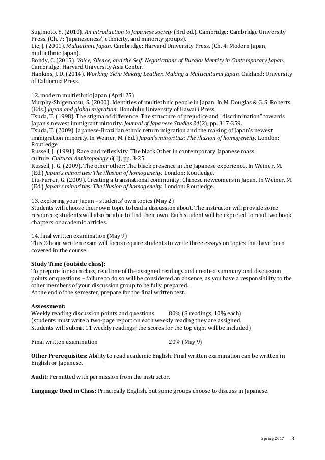 Spring2017 3 Sugimoto,Y.(2010).AnintroductiontoJapanesesociety(3rded.).Cambridge:CambridgeUniversity Press...
