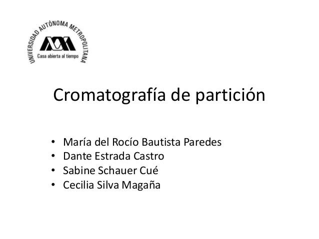 Cromatografía de partición • • • •  María del Rocío Bautista Paredes Dante Estrada Castro Sabine Schauer Cué Cecilia Silva...