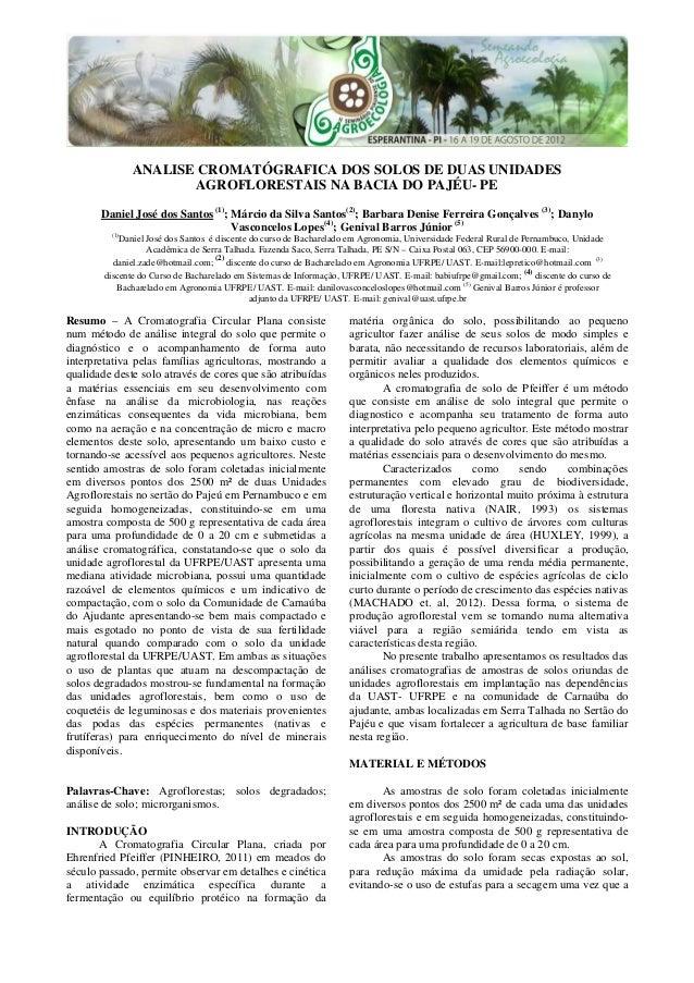 ANALISE CROMATÓGRAFICA DOS SOLOS DE DUAS UNIDADES AGROFLORESTAIS NA BACIA DO PAJÉU- PE Daniel José dos Santos (1) ; Márcio...