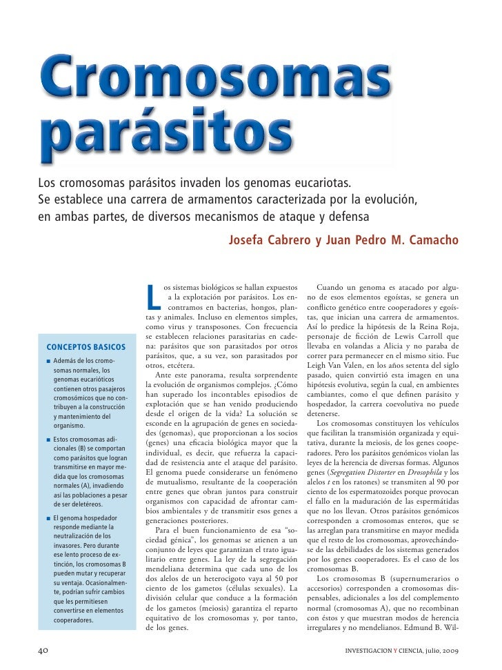 Cromosomas parásitos Los cromosomas parásitos invaden los genomas eucariotas. Se establece una carrera de armamentos carac...