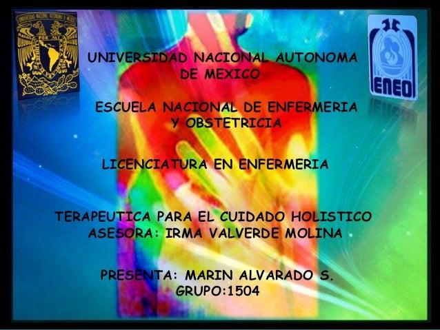 UNIVERSIDAD NACIONAL AUTONOMA DE MEXICO ESCUELA NACIONAL DE ENFERMERIA Y OBSTETRICIA TERAPEUTICA PARA EL CUIDADO HOLISTICO...