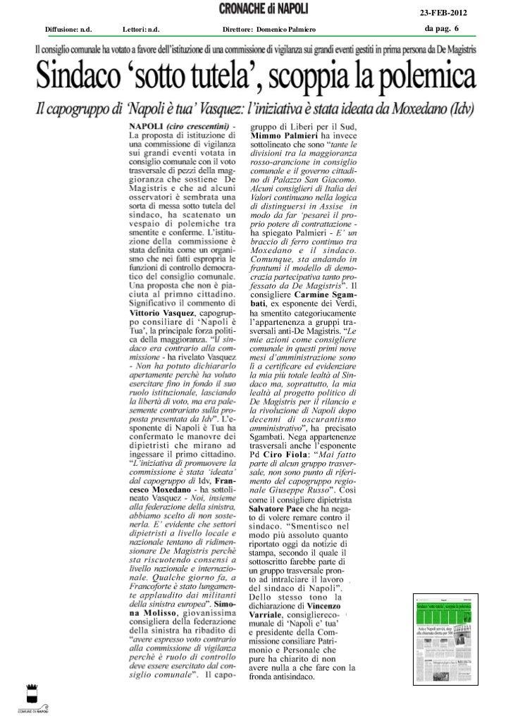 23-FEB-2012Diffusione: n.d.   Lettori: n.d.   Direttore: Domenico Palmiero    da pag. 6