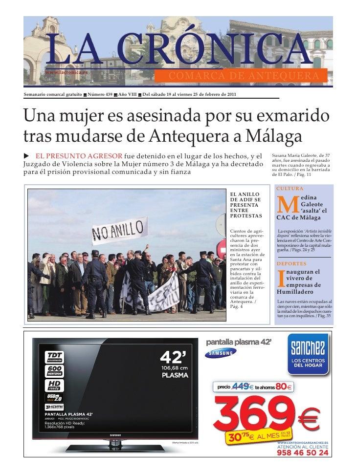 www.lacronica.esSemanario comarcal gratuito n Número 439 n Año VIII n Del sábado 19 al viernes 25 de febrero de 2011Una mu...