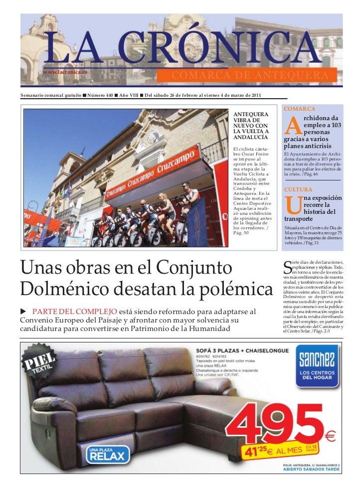 www.lacronica.esSemanario comarcal gratuito   Número 440   Año VIII   Del sábado 26 de febrero al viernes 4 de marzo de 20...