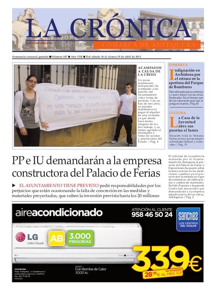 www.lacronica.esSemanario comarcal gratuito   Número 447   Año VIII   Del sábado 16 al viernes 29 de abril de 2011        ...