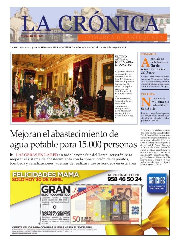 www.lacronica.esSemanario comarcal gratuito   Número 448   Año VIII   Del sábado 30 de abril al viernes 6 de mayo de 2011 ...