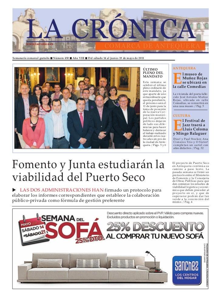 www.lacronica.esSemanario comarcal gratuito   Número 450   Año VIII   Del sábado 14 al jueves 19 de mayo de 2011          ...