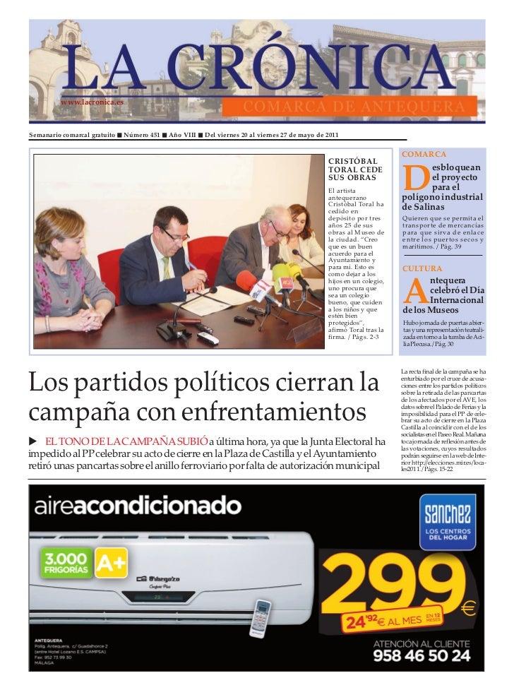 www.lacronica.esSemanario comarcal gratuito   Número 451   Año VIII   Del viernes 20 al viernes 27 de mayo de 2011        ...