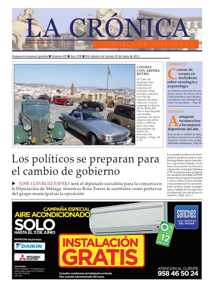 www.lacronica.esSemanario comarcal gratuito   Número 453   Año VIII   Del sábado 4 al viernes 10 de junio de 2011         ...