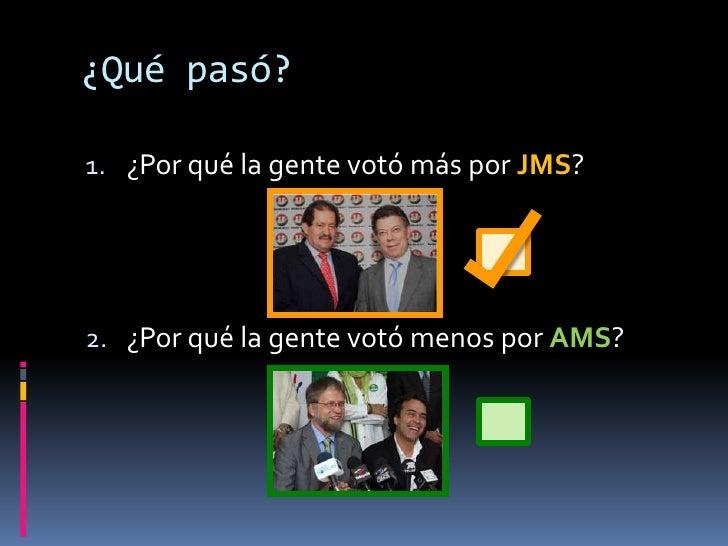 ¿Qué pasó? <br />¿Fue que la gente votó más por JMS?<br />¿Fue que la gente votó menos por AMS?<br />