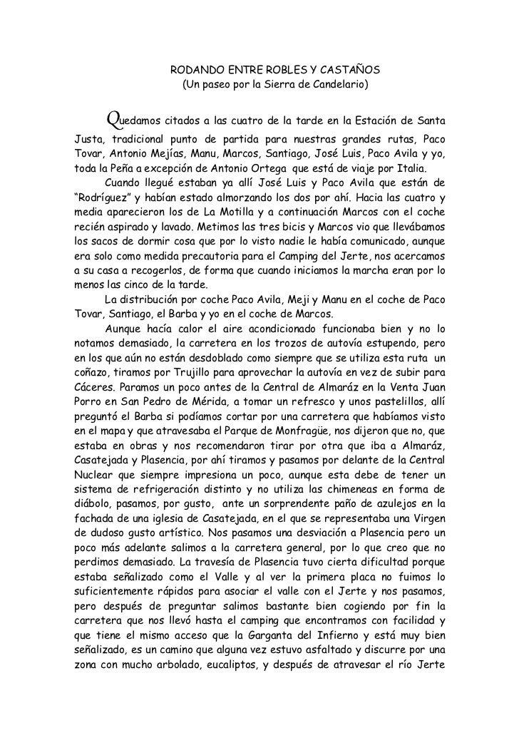 RODANDO ENTRE ROBLES Y CASTAÑOS                     (Un paseo por la Sierra de Candelario)      Quedamos citados a las cua...