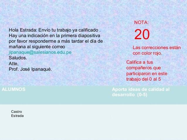 NOTA: 20 Las correcciones están con color rojo. ALUMNOS Aporta ideas de calidad al desarrollo (0-5) Castro Estrada Calific...