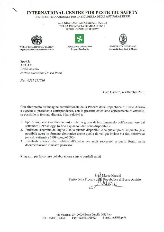 Pr Perito della Procura d Marco Maroni Repubblica di Busto Arsizio N INTERNATIONAL CENTRE FOR PESTICIDE SAFETY CENTRO INTE...