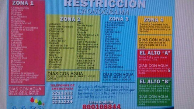 Cronograma de corte de agua en La Paz