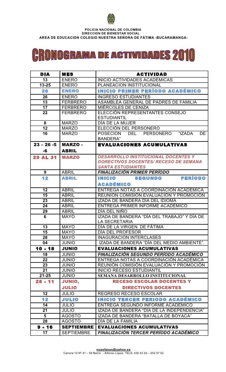 POLICIA NACIONAL DE COLOMBIA                           DIRECCION DE BIENESTAR SOCIAL   AREA DE EDUCACION COLEGIO NUESTRA S...