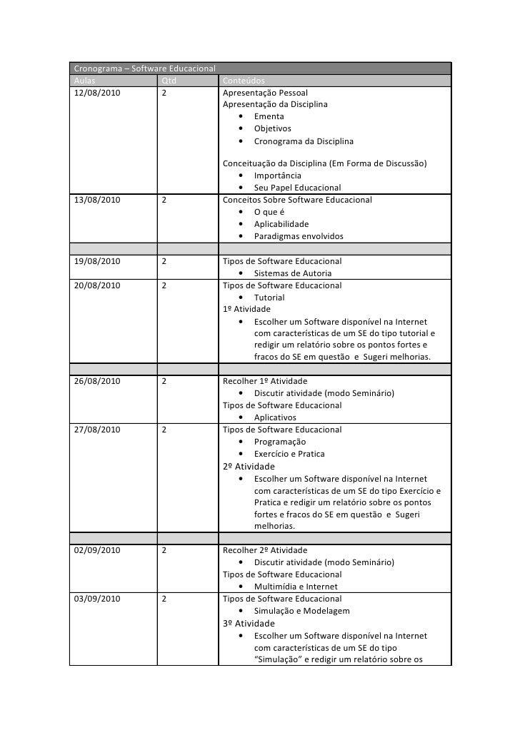 Cronograma – Software Educacional Aulas               Qtd           Conteúdos 12/08/2010          2             Apresentaç...