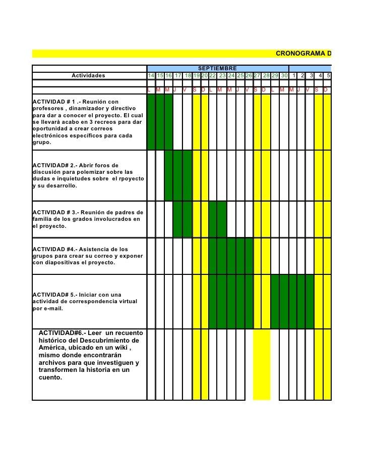 CRONOGRAMA DE ACTIVIDA                                                            SEPTIEMBRE              Actividades     ...