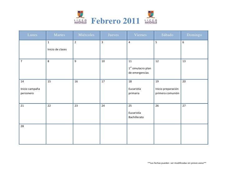 Febrero 2011     Lunes            Martes             Miércoles        Jueves        Viernes               Sábado          ...