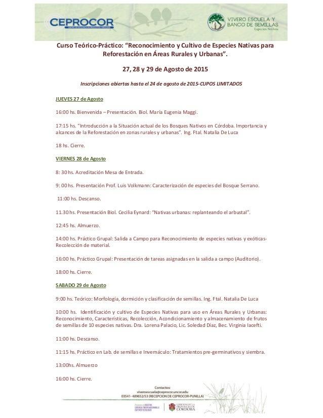 """Curso Teórico-Práctico: """"Reconocimiento y Cultivo de Especies Nativas para Reforestación en Áreas Rurales y Urbanas"""". 27, ..."""