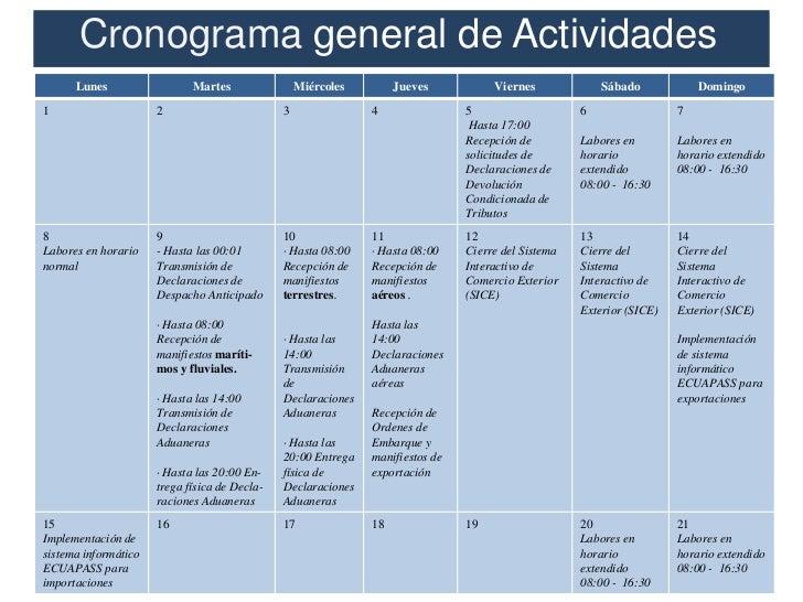 Cronograma general de Actividades      Lunes                  Martes                Miércoles        Jueves           Vier...