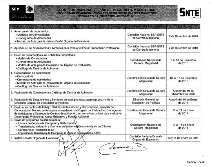 COMISON NACIONAL SEP-SNTE DE CARRERA MAGISTERIAL SECHLTAPA DE EDUCACION VUBLICA                                       CRON...