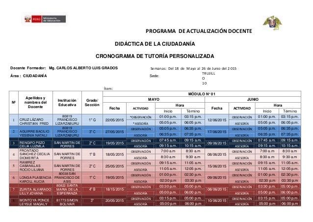 PROGRAMA DE ACTUALIZACIÓN DOCENTE DIDÁCTICA DE LA CIUDADANÍA CRONOGRAMA DE TUTORÍA PERSONALIZADA Docente Formador: Mg. CAR...