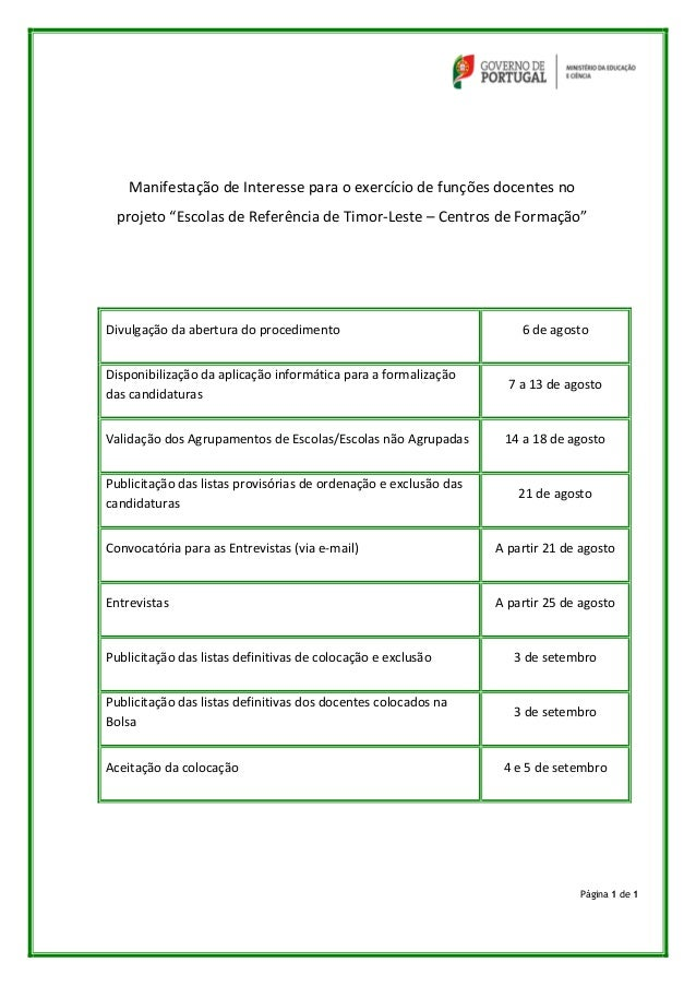 """Página 1 de 1 Manifestação de Interesse para o exercício de funções docentes no projeto """"Escolas de Referência de Timor-Le..."""