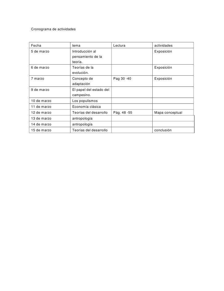 Cronograma de actividadesFecha                  tema                      Lectura       actividades5 de marzo             ...