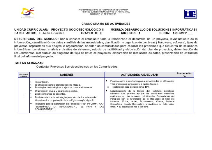 PROGRAMA NACIONAL DE FORMACIÓN EN INFORMÁTICA                                                                     TÉCNICO ...
