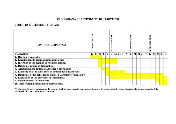 CRONOGRAMA DE ACTIVIDADES DEL PROYECTO<br />PROFR. JOSE ELEUTERIO MISSDZIB.<br />ACCIONES A REALIZAR 3ª SEMANA  DE JUNIO4ª...