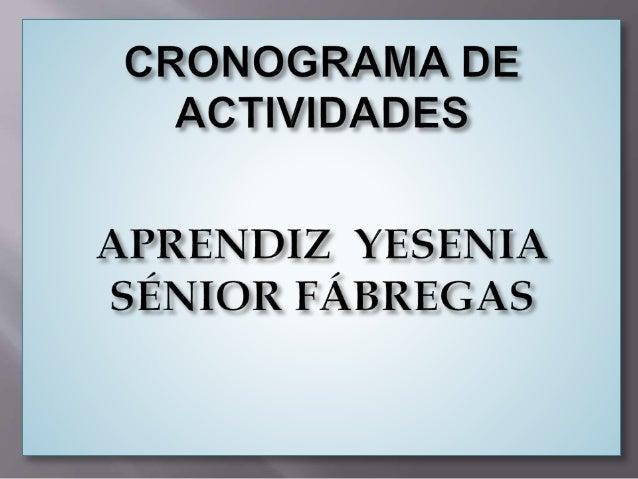 CRONOGRAMA DE ACTWIDAD ES  APRENDIZ YESENIA SÉNIOR FÁBREGAS