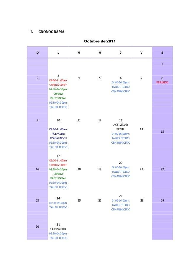 I.       CRONOGRAMA                                   Octubre de 2011     D             L          M          M           ...