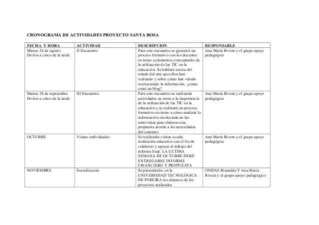 CRONOGRAMA DE ACTIVIDADES PROYECTO SANTA ROSA FECHA Y HORA ACTIVIDAD DESCRIPCION RESPONSABLE Martes 24 de agosto De dos a ...