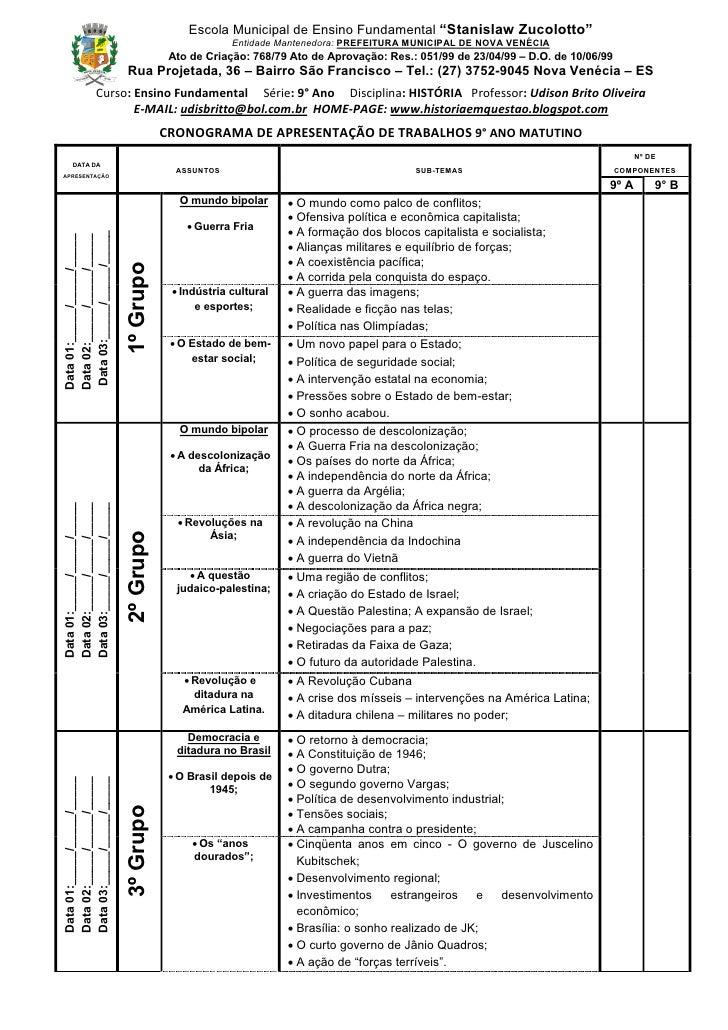 "Escola Municipal de Ensino Fundamental ""Stanislaw Zucolotto""                                                     Entidade ..."