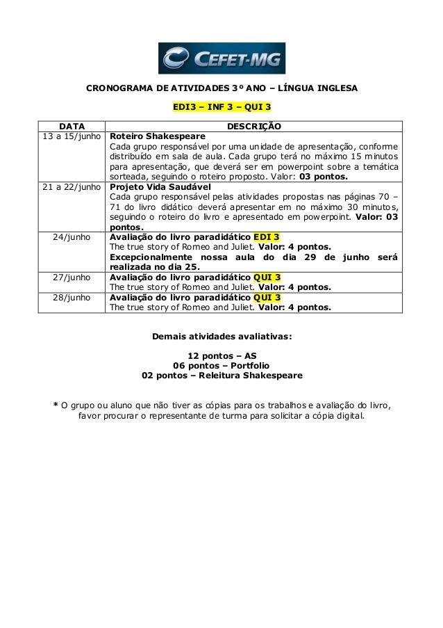 CRONOGRAMA DE ATIVIDADES 3º ANO – LÍNGUA INGLESA EDI3 – INF 3 – QUI 3 DATA DESCRIÇÃO 13 a 15/junho Roteiro Shakespeare Cad...