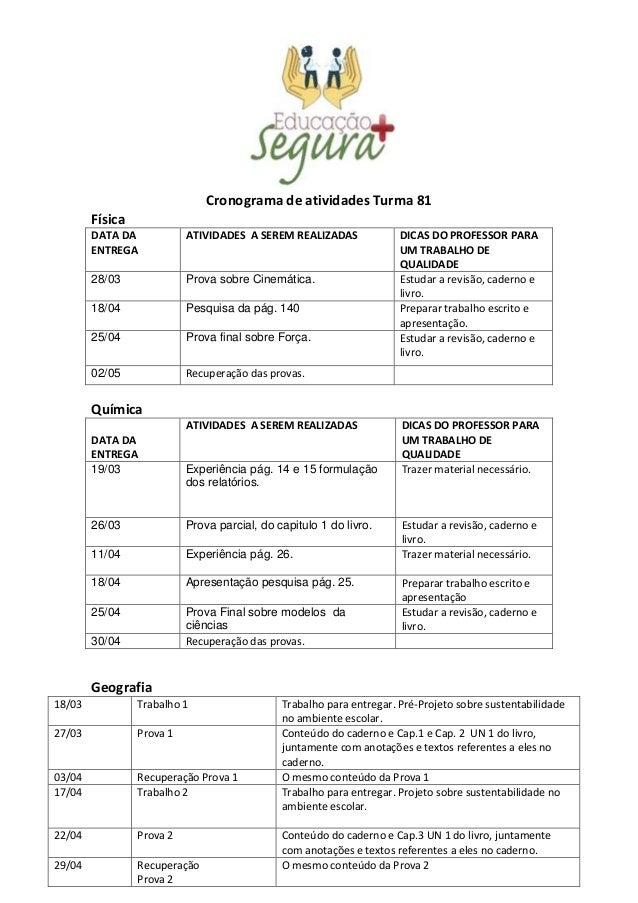 Cronograma de atividades Turma 81 Física DATA DA ENTREGA ATIVIDADES A SEREM REALIZADAS DICAS DO PROFESSOR PARA UM TRABALHO...