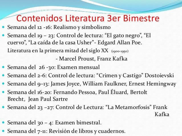 "Contenidos Literatura 3er Bimestre  Semana del 12 -16: Realismo y simbolismo  Semana del 19 – 23: Control de lectura: ""E..."