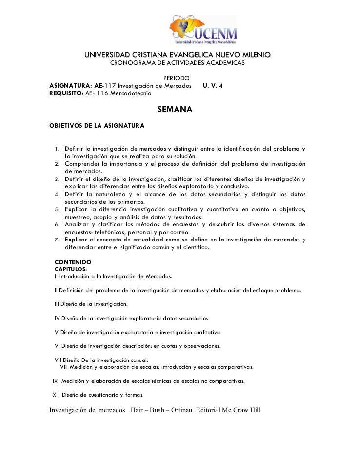UNIVERSIDAD CRISTIANA EVANGELICA NUEVO MILENIO                        CRONOGRAMA DE ACTIVIDADES ACADEMICAS                ...