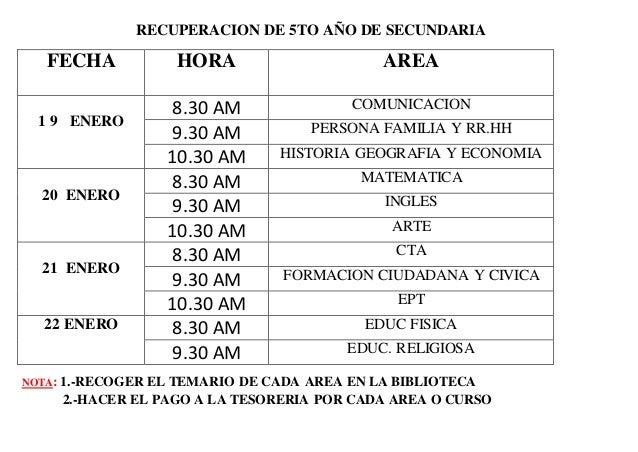 RECUPERACION DE 5TO AÑO DE SECUNDARIA NOTA: 1.-RECOGER EL TEMARIO DE CADA AREA EN LA BIBLIOTECA 2.-HACER EL PAGO A LA TESO...