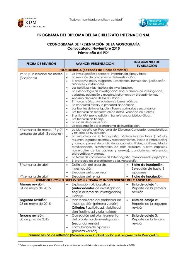 """""""Todo en humildad, sencillez y caridad"""" PROGRAMA DEL DIPLOMA DEL BACHILLERATO INTERNACIONAL CRONOGRAMA DE PRESENTACIÓN DE ..."""