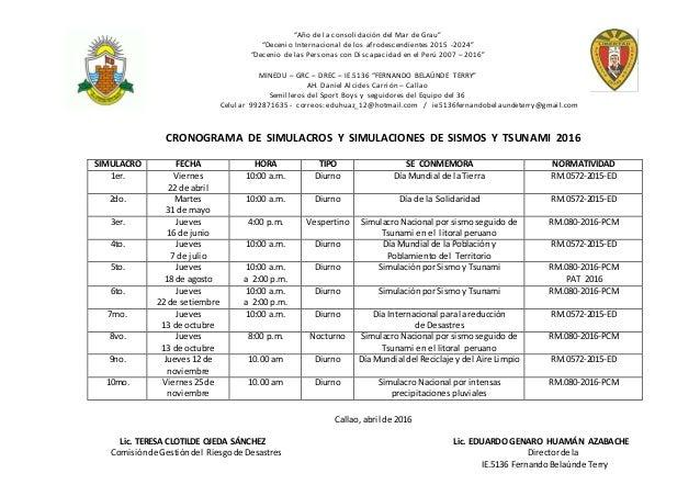 Cronograma de simulacros y simulaciones de sismos y for Cronograma jardin infantil 2015