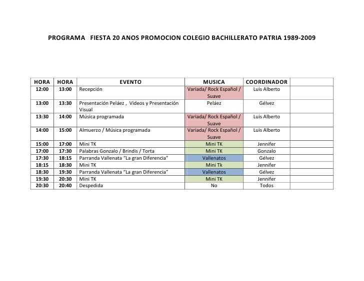 PROGRAMA   FIESTA 20 ANOS PROMOCION COLEGIO BACHILLERATO PATRIA 1989-2009<br />HORAHORAEVENTOMUSICACOORDINADOR12:0013:00Re...