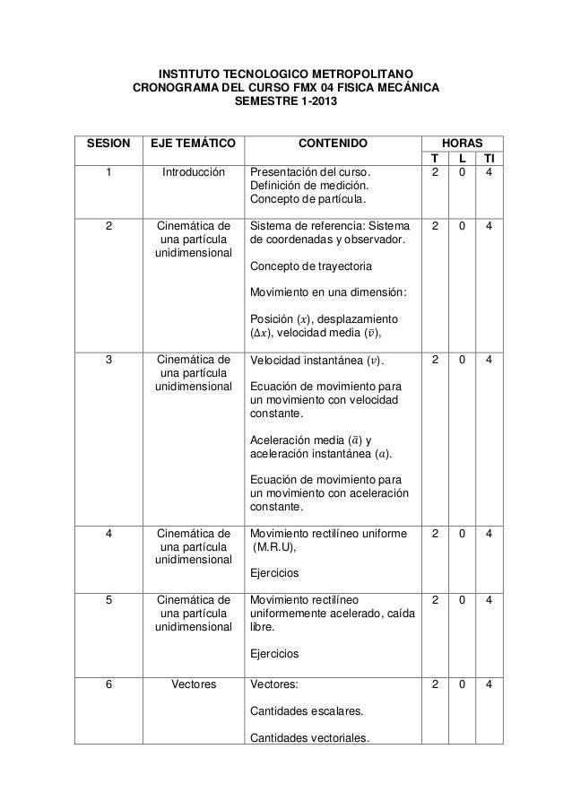 INSTITUTO TECNOLOGICO METROPOLITANO         CRONOGRAMA DEL CURSO FMX 04 FISICA MECÁNICA                        SEMESTRE 1-...