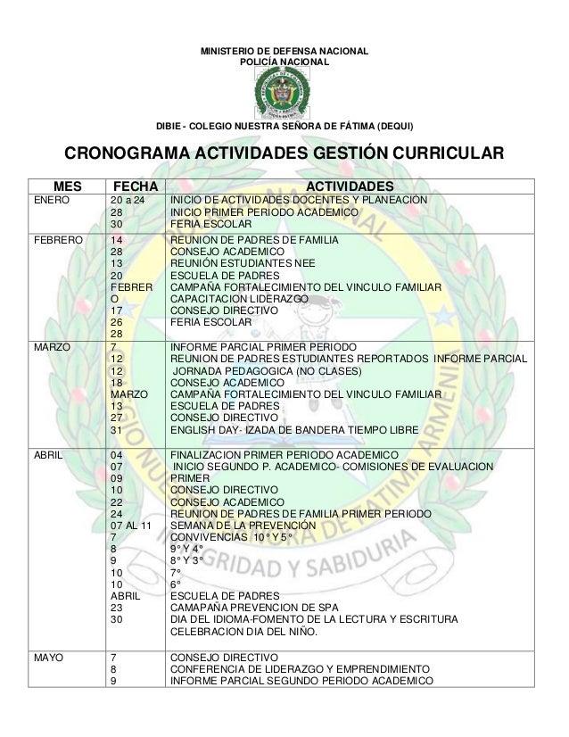 MINISTERIO DE DEFENSA NACIONAL POLICÍA NACIONAL  DIBIE - COLEGIO NUESTRA SEÑORA DE FÁTIMA (DEQUI)  CRONOGRAMA ACTIVIDADES ...