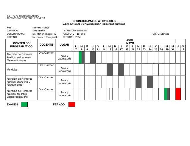 Cronograma grupo primeros auxilios grupo 1 y 2
