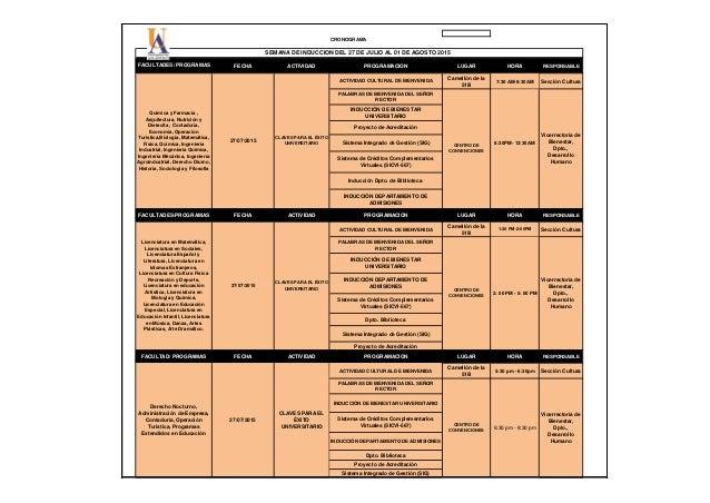CRONOGRAMA FECHA ACTIVIDAD PROGRAMACION LUGAR HORA RESPONSABLE ACTIVIDAD CULTURAL DE BIENVENIDA Camellón de la 51B 7:30 AM...
