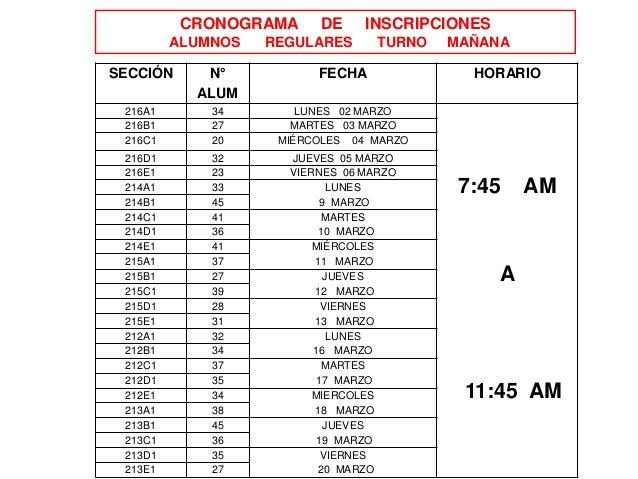 CRONOGRAMA DE INSCRIPCIONES ALUMNOS REGULARES TURNO MAÑANA SECCIÓN N° ALUM FECHA HORARIO 216A1 34 LUNES 02 MARZO 7:45 AM A...