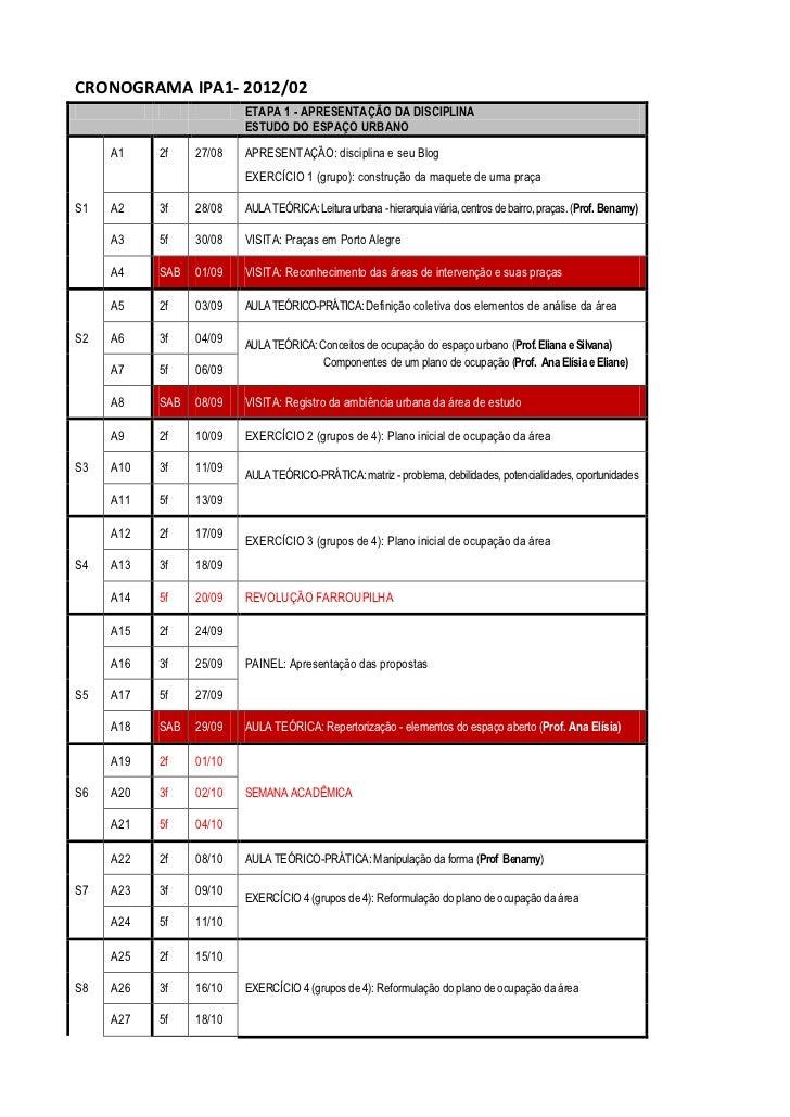 CRONOGRAMA IPA1- 2012/02                         ETAPA 1 - APRESENTAÇÃO DA DISCIPLINA                         ESTUDO DO ES...